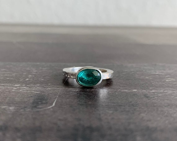 Sterling Silver Hammer Textured Stackable Gemstone Ring