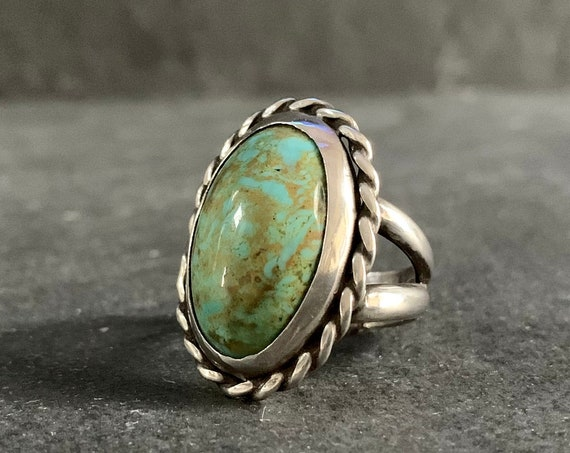 Sterling Silver and Natural Patagonia Turquoise Ring, Turquoise Jewelry, Southwestern and Boho Ring, Mothers Day, Gift