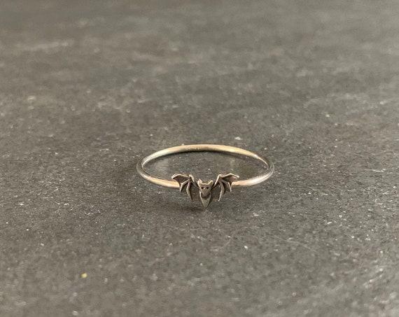Sterling Silver Bat Ring, Silver Bat Ring, Bat Jewelry, Stacking Ring, Gift