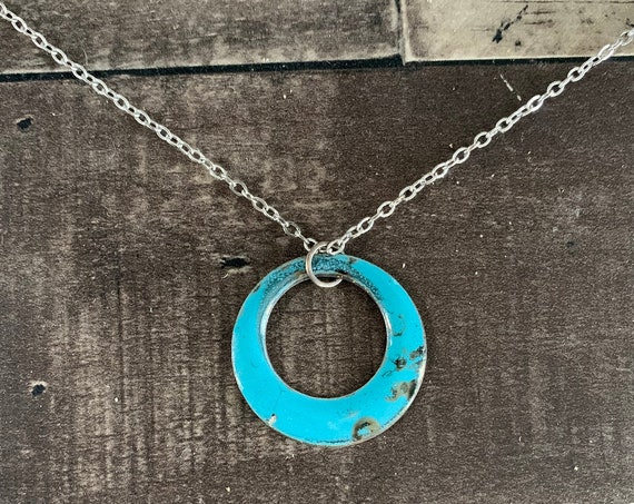 Raku Fired Turquoise Enamel Pendant Necklace