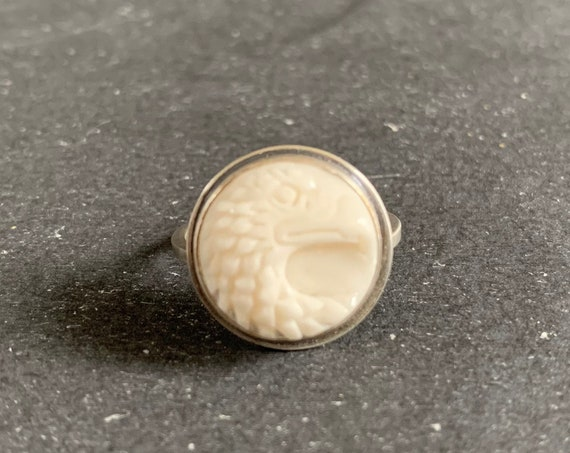 Sterling Silver Hand Carved Buffalo Bone Eagle Ring, Eagle Bird, Birds and Animals, Mothers Day, Gift