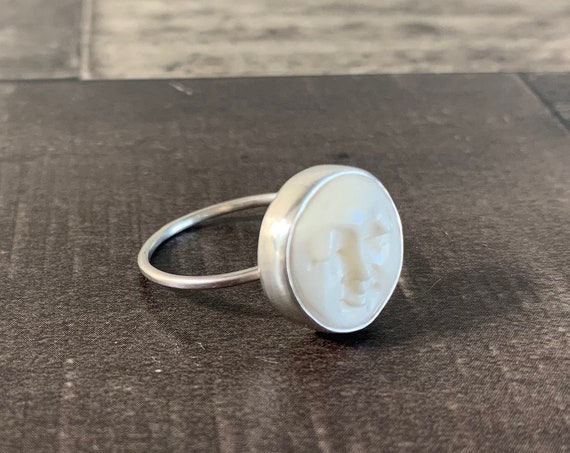 Custom Made Sterling Silver Moon Face Ring, Man In The Moon Ring