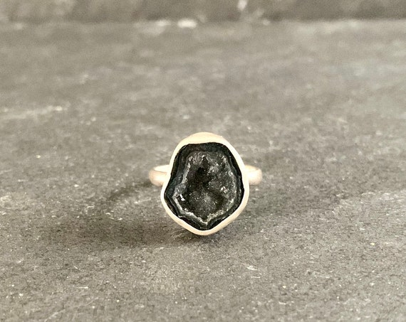Sterling Silver and Mini Tabasco Geode Ring, Mini Geode Ring, Mini Geode, Gift