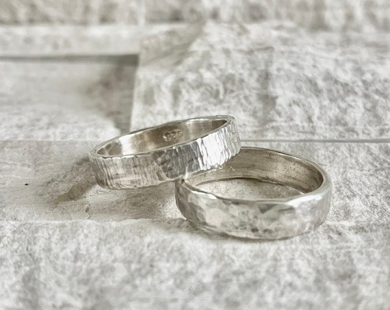 Sterling Silver Hammer Textured Ring Band