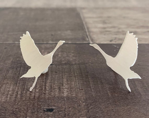 Sterling Silver Flying Goose Stud Earrings