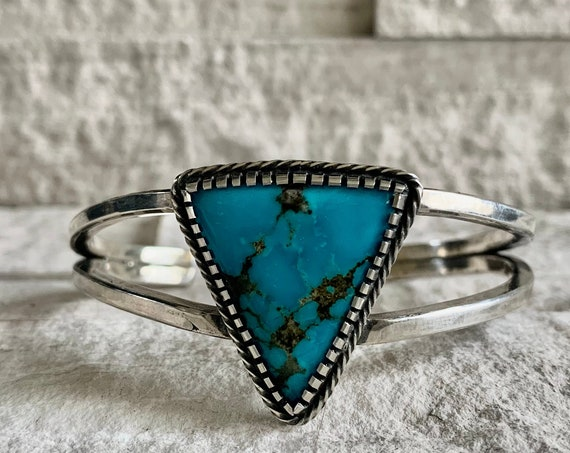 Native American and Natural Morenci Turquoise Bracelet, Natural Turquoise Bracelet, Boho, Southwestern, Morenci Turquoise, Gift