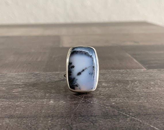 Sterling Silver and Natural Dendritic Opal Ring