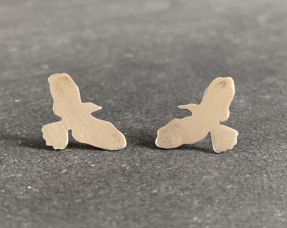 Sterling Silver Raven Stud Earrings