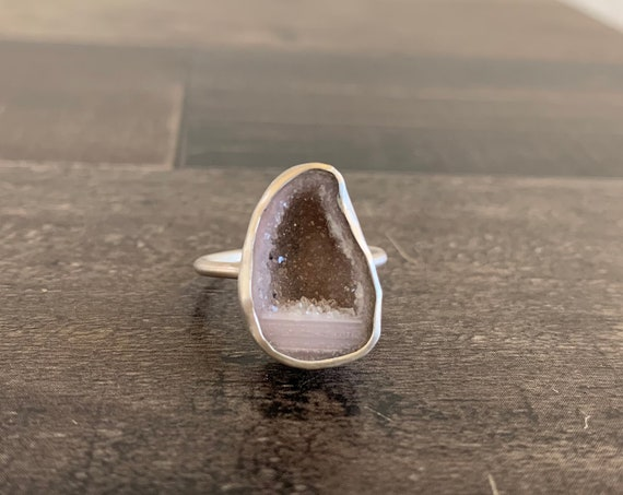 Sterling Silver Tabasco Geode Druzy Ring
