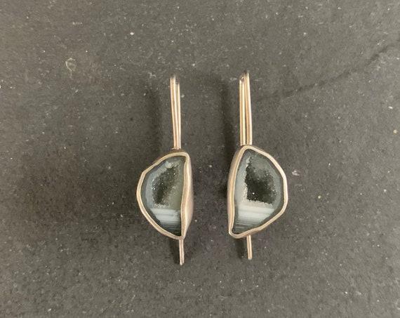 Sterling Silver Mini Tabasco Geode Druzy Earrings