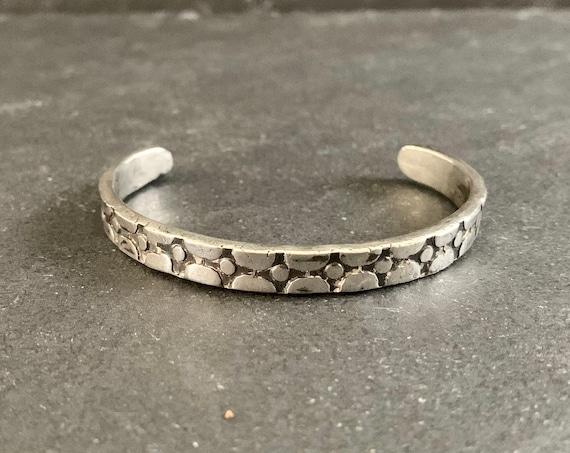 Native American Sterling Silver Cuff Bracelet, Cuff Bracelet, Stamped, Southwestern, Gift