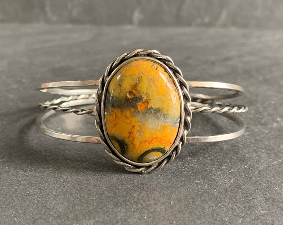 Sterling Silver and Natural Bumble Bee Jasper Cuff Bracelet