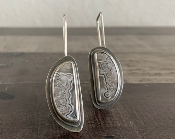 Sterling Silver and Natural Crazy Lace Earrings