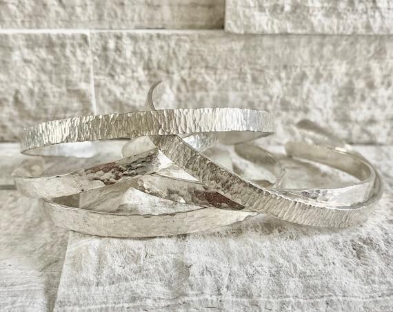 Sterling Silver Hammer Textured Cuff Bracelet