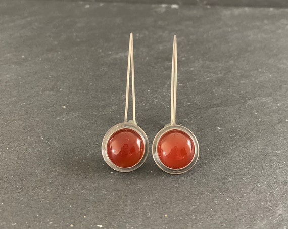 Sterling Silver and Natural Carnelian Earrings, Carnelian Earrings, Dangle Earrings Southwestern, Gift