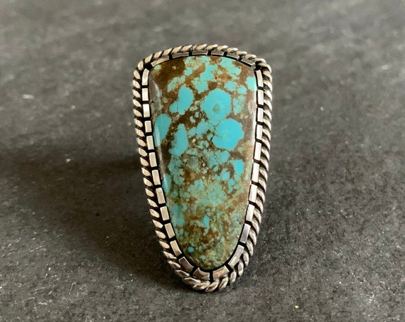Native American Sterling Silver and Natural Spiderweb Turquoise Ring