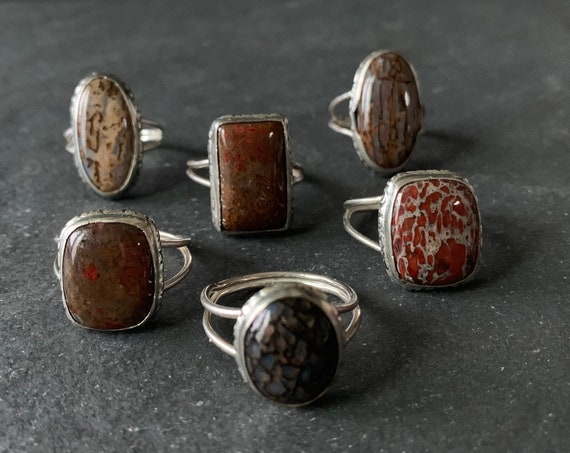 Sterling Silver and Natural Fossilized Dino Bone Ring