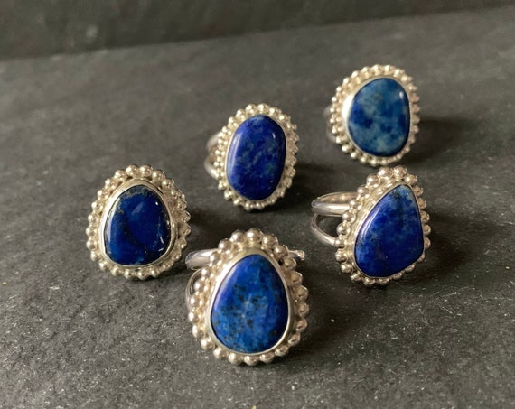 Sterling Silver and Natural Lapis Lazuli Ring