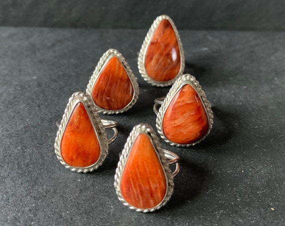 Sterling Silver and Natural Spiny Oyster Ring
