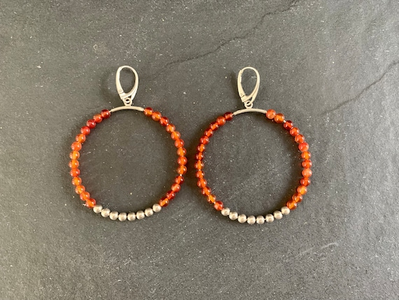 Native American Sterling Silver and Natural Carnelian Earrings, Carnelian Earrings, Hoop Earrings Southwestern, Gift