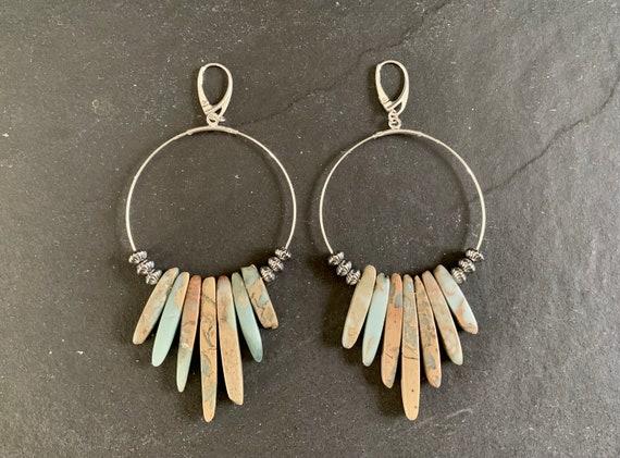 Native American Sterling Silver and Natural Picture Jasper Earrings, Jasper Earrings, Hoop Earrings Southwestern, Gift