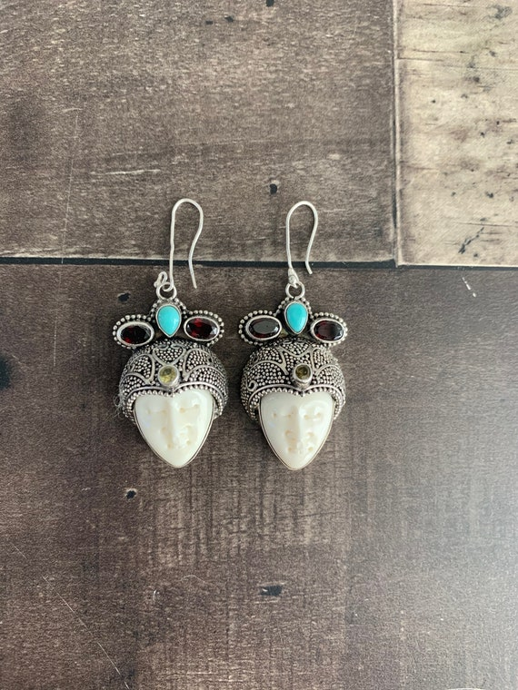 Sterling Silver and Gemstone Moon Goddess Face Ear