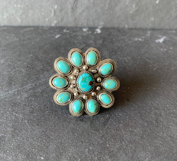Native American Sterling Silver Kingman Turquoise Ring, Turquoise Jewelry, Cluster Ring, Southwestern and Boho Ring, Gift