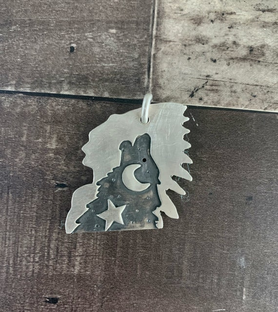 Sterling Silver Howling Wolf Indian Chief Pendant