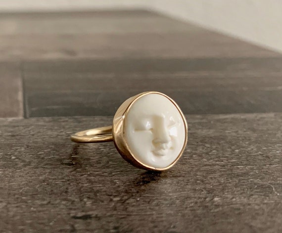Custom Made 14k Yellow Gold Moon Face Ring