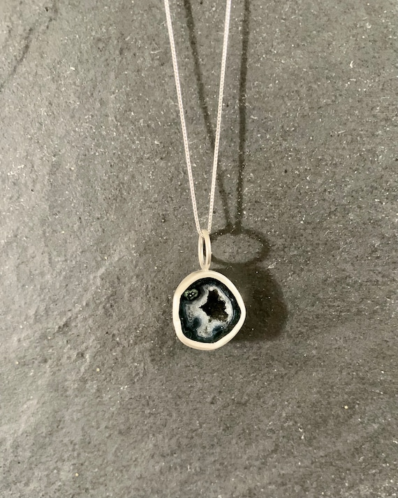 Sterling Silver and Mini Tabasco Geode Pendant Necklace