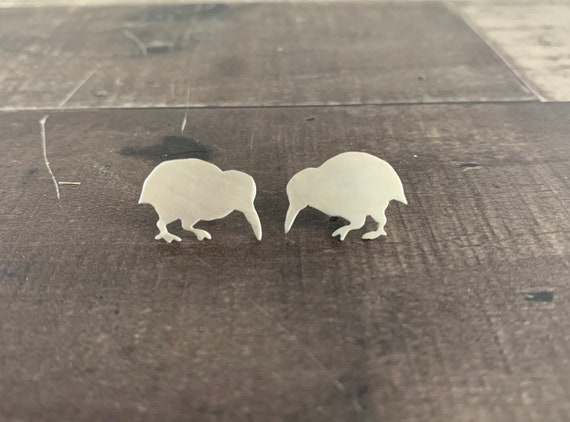 Sterling Silver Kiwi Bird Stud Earrings