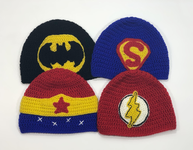DC Super Hero Beanies Batman Superman Wonder Woman   Flash  b7792045e4b