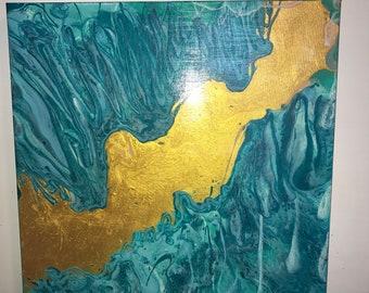Gold River Acrylic Pour