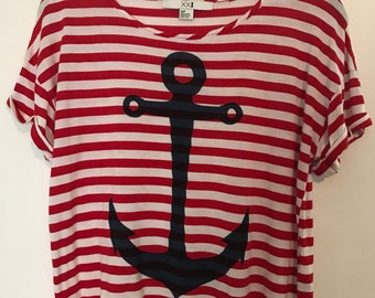 90s Cropped Red, White & Blue Anchor Tee