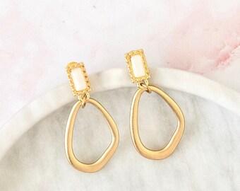 requiem dream   gold statement earrings   matte gold and stone earrings   acrylic earrings   minimalist earrings   minimalism #36