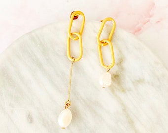 the rule breaker   assymetrical gold and freshwater pearl statement earrings   mis matched earrings   freshwater pearl chain link  #39