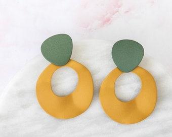 endless minds   statement earrings   organic sage green and mustard yellow ceramic style drop earrings   geometric organic shape #34
