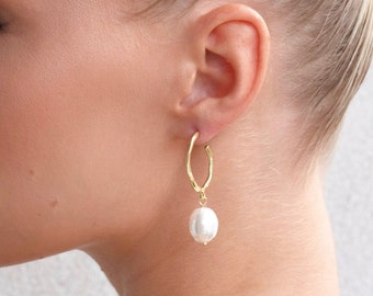 bridal collection    bridal party gold and pearl hoop earring   gold statement earring   wedding bride bridal party pearl earring  #39
