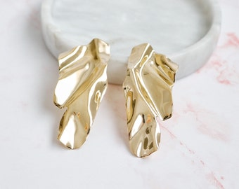 precious dreams   unique gold statement earrings   crumpled style   baroque earrings #3