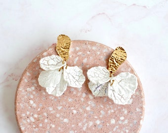 petal power   unique flower gold and white statement earrings   baroque earrings   petal earrings   flower earrings #1
