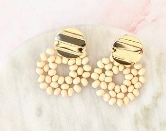 wooden dreams   rattan earrings   statement earrings   beaded earrings with metal detail #37