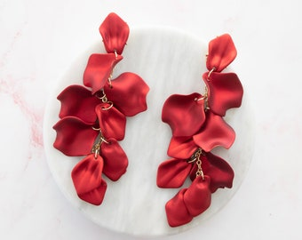 drama queen   unique iridescent red flower gold and petal earrings   floral earrings   rose petal earrings   flower earrings #6
