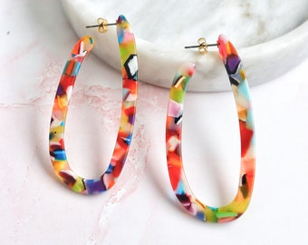 jagged love   resin hoop colorful earrings   cellulose acetate statement earrings   available multiple colors #41