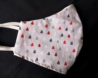 Adult Christmas Trees Fir Holidays Handmade Machine Wash Reusable Face Mask 100% Cotton light grey multi