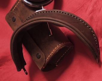 Leather Headband / Grado Headband / Classic Men's Brown