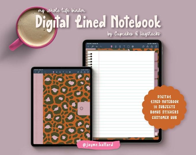 Digital Blank Lined Notebook | Bonus Digital Stickers