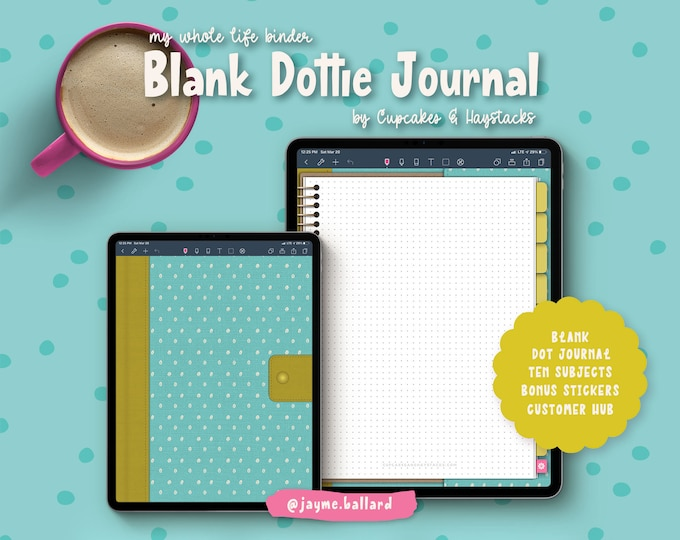 Digital Blank Dottie Journal | Bonus Digital Stickers