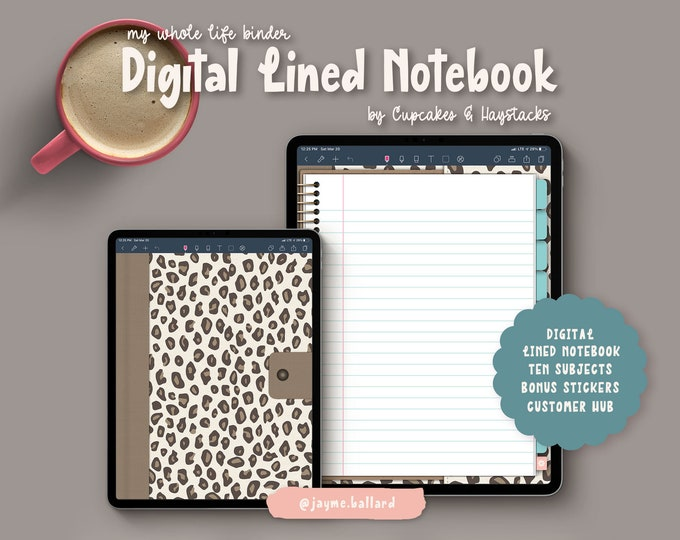 Digital Blank Lined Notebook | Bonus Digital Stickers