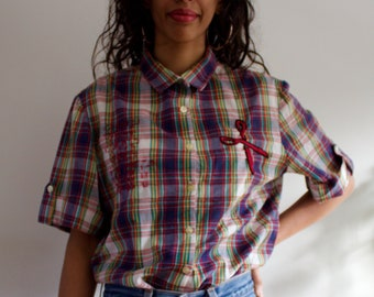 367b14fe2 Vintage 70s Checked Shirt with Hand Embroidered Scissors & Lettering, New  Attitude Division of Russ Togs Inc - Sustainable Fashion