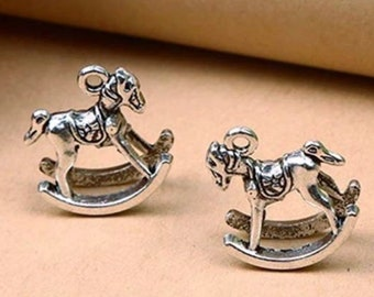 4pcs  RG0013-MG Hobby Horse Pendant 16K Matte Gold Plated over Brass Rocking Horse Pendant Wooden Horse Charm